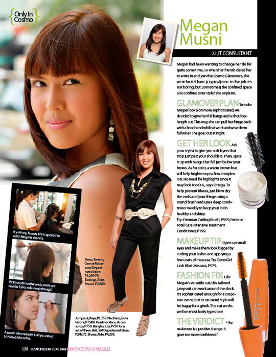 "Megan's blunt bangs and hip hair color instantly transformed her into an eye-catching ""It"" girl. Love, love, love!"