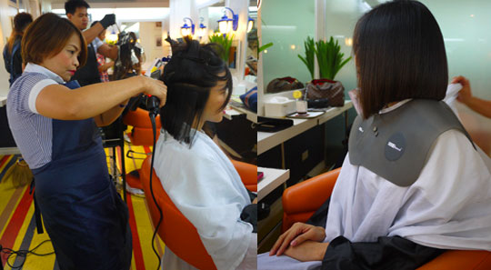 Plantsa time! A flat iron brings out the shape of the cut. Once done, Jing re-shaped the shape of the bob again for more precision.