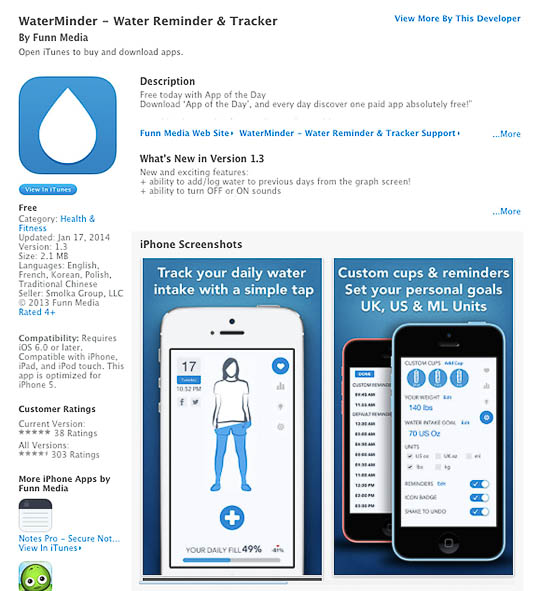 This one has more practical features like trivia about the health benefits of drinking H20 and better tracking of your water intake history.