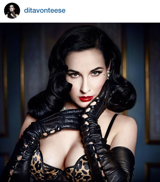 He did this very look on the sultry Dita Von Teese, which she posted on her IG account.