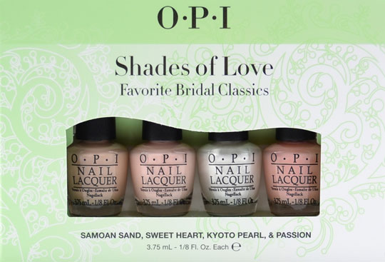 OPI Shades Of Love Favorite Bridal Classics Mini  Lacquers.