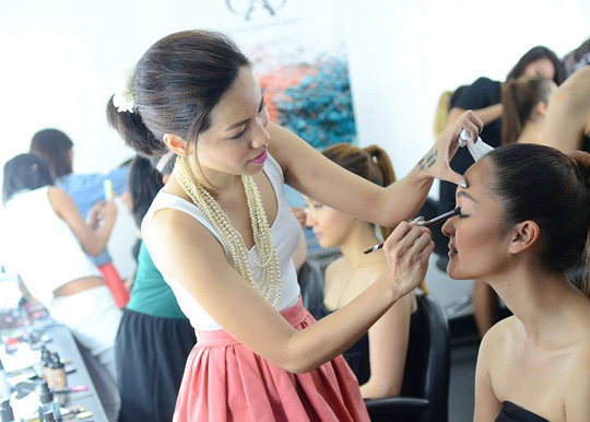 We also got to play makeup artist for the day by doing the model's eye makeup. I miss being on this side of the chair!