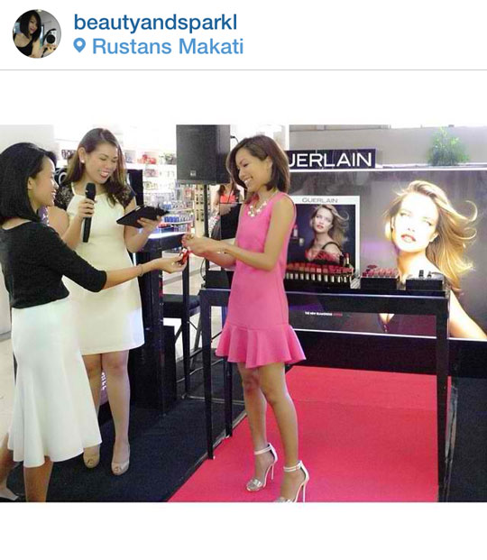 """Here I am receiving my lipstick """"award"""". Thank you for choosing me, Guerlain Philippines!"""