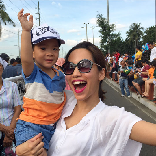 Waited on Roxas Boulevard, one of the biggest roads in the country, for about 2 hours. My cutie godson was such a trooper—no tantrums at all!