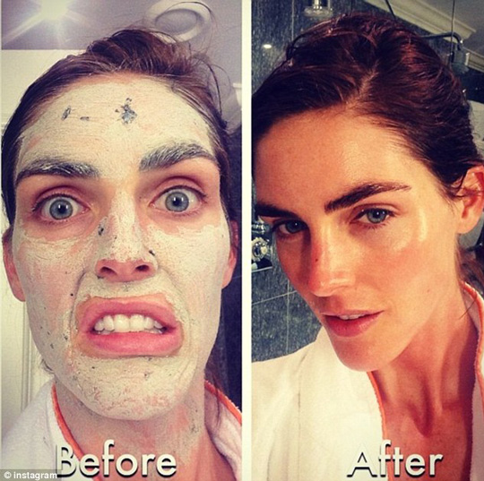Silly supermodel! Hilary Rhoda shows us what a diff a little mask time can make.