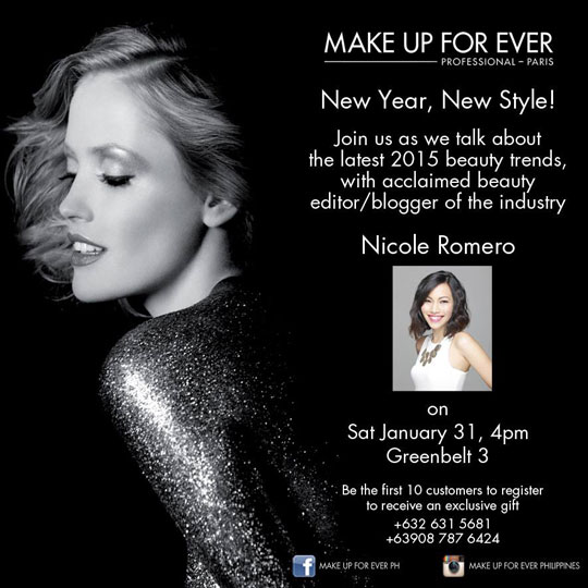 Btw, I'm also giving a short workshop about the fab makeup and hair trends for 2015 at the MUFE store in Greenbelt :) I'm so excited and I hope to see you there!