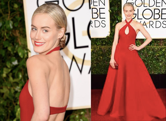 Look at that glow! NARS worked with celebrity makeup artist Tina Turnbow to create the red carpet makeup look for Taylor Schilling.