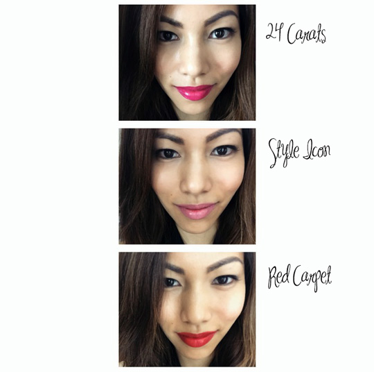 One makeup look = Three different shades of lipstick. See how your face can transform based on the color of your lippie?