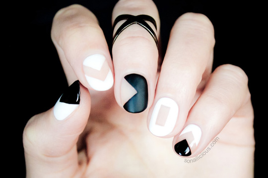 """You basically leave a """"space"""" for your real nails to peek through when you create your graphics. Love this design from sonaillicious.com!"""