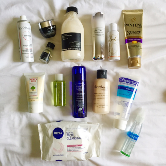 All the stuff I used for my hair and skincare. Yes, I used every single item here.