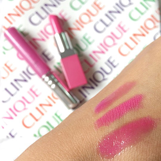 Swiping time! The lipstick in the middle, the gloss on top, and lippie + gloss layered at the bottom.