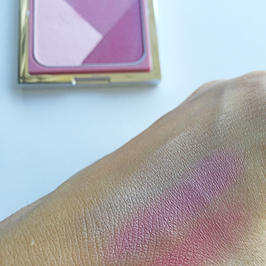 Swatched! The contour shade is more reddish-pink, so I don't put too much of that. Don't ignore it completely though, since it still adds depth to the color when blended all together.