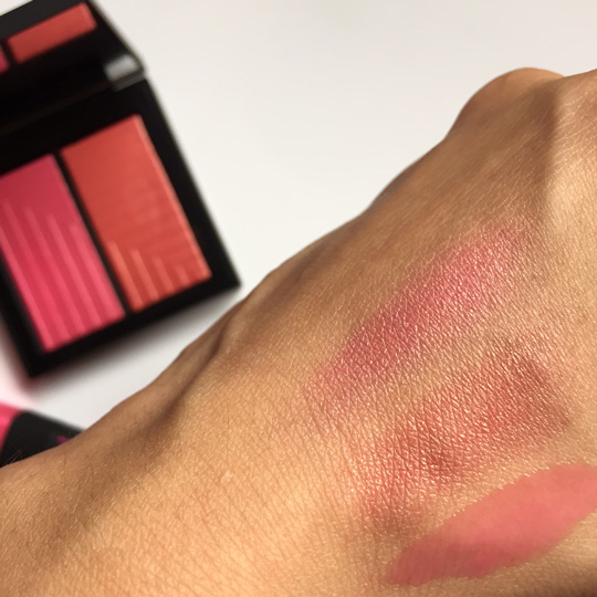 Swatched! The two blush tones are quite pigmented. Was disappointed that the gloss was a lot more sheer.