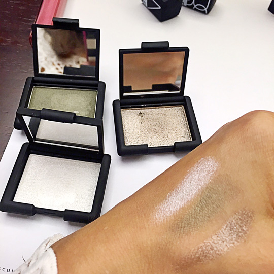 NARS Single Eyeshadow, P1,350 each. The pearly shades on my hand from top to bottom: Mortal, Never Too Late, and Stud.