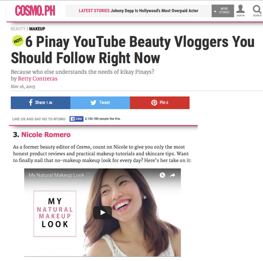 Cosmo.ph said I was one of the Pinay YouTube Beauty Vloggers to follow! Thank you so much, Team Cosmo!