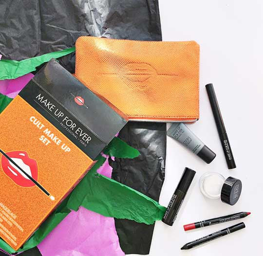 The MUFE Cult Make Up Set has all their best-sellers—long-lasting liners, falsies mascara, HD powder, and base.