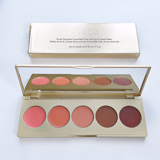 First look: the Stila Convertible Color Dual Lip & Cheek Palette in Sunset Serenade, P2,050. It's a set of warm colors (with one new shade that's exclusive to the palette).