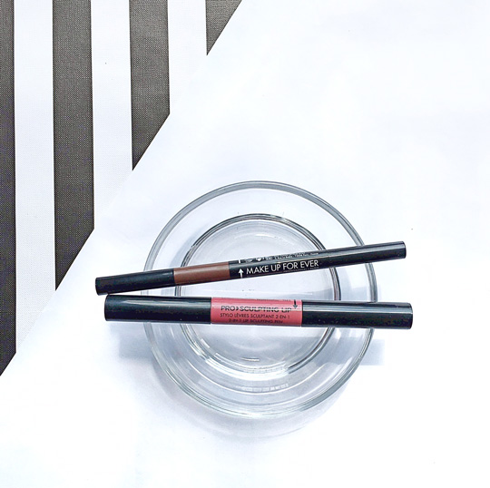 Make Up For Ever Pro Sculpting 3-in-1 Brow Pen and 2-in-1 Lip Pen.