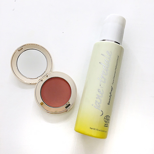 Jane Iredale Beauty Prep Facial Cleanser and Pure Pressed Blush in Mystique.