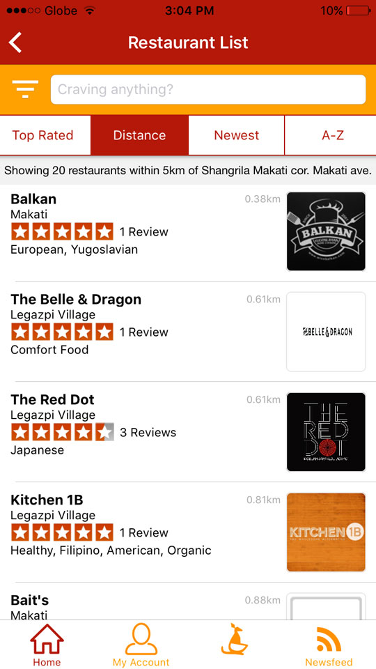 After setting up your account and plugging in your address, the app will reco the closest restaurants in your area.