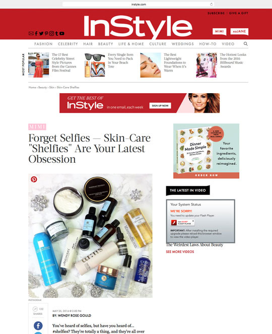 InStyle ran a story about skincare shelfies...