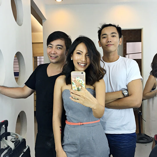 You're only as gorgeous as your glam squad! That's makeup artist, Don de Jesus, and hairstylist, Ethan David.