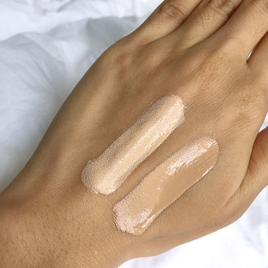 Swatched! It dries to a demi-matte finish, but the light diffusing technology still leaves your skin with a smooth, even glow.