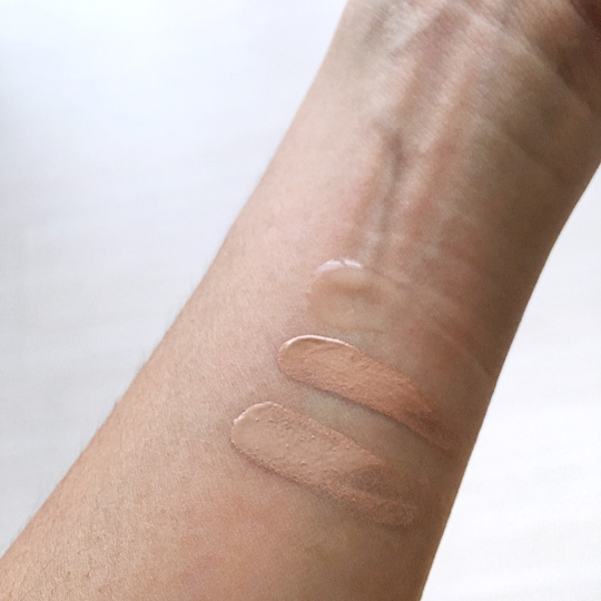Swatched! From top to bottom, that's the MUFE Ultra HD Skin Booster, Invisible Cover Concealer (P1,750), and Invisible Cover Foundation.