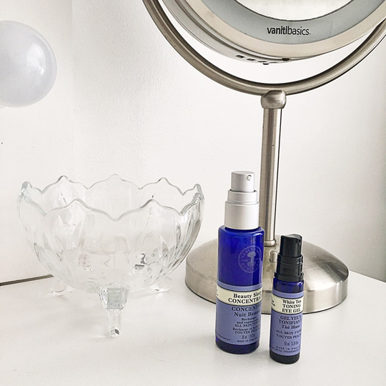 I'm currently using Neal's Yard Remedies Beauty Sleep Concentrate and White Tea Toning Eye Gel.